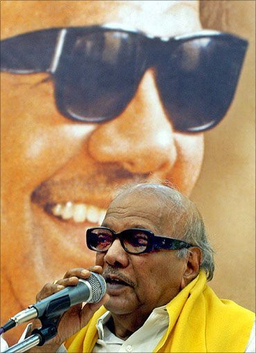 Tamil Nadu chief minister and DMK chief M Karunanidhi.