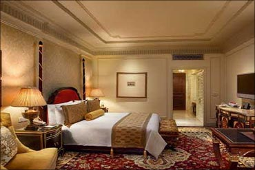 The grande deluxe room at Leela Kempinski New Delhi.