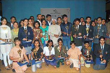 IGNITE competition winners with former President Kalam.
