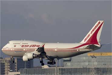 An Air India aircraft takes off.