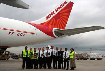 An Air India aircraft and its crew.