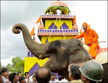 An elephant during a fair in Tripura.