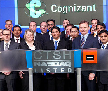 Francisco D'Souza, Cognizant employees during Nasdaq listing.