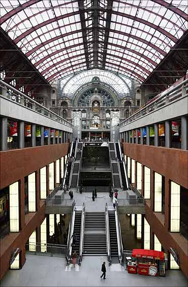 View of Antwerp's new central railway station after its restoration.