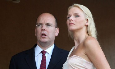 Prince Albert II and his fianc  Charlene Wittstock