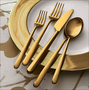 Italian gold flatware.