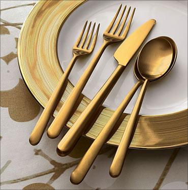 Italian gold flatware.