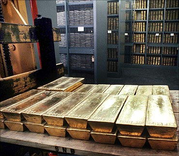 A file picture shows lingots of gold in the cellars of the Swiss National Bank.