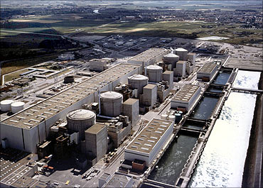 Aerial view showing the six reactors at the Gravelines nuclear power.