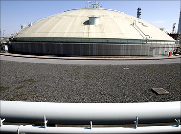 Storage tank for liquefied natural gas at Futtsu Thermal Plant.