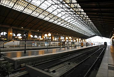 A view of the deserted Gare du Nord railway station in Paris.
