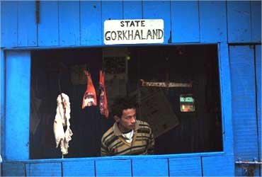 The ubiquitous 'Gorkhaland' sign on a meat shop.