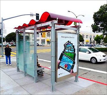 Wi-fi bus stop, San Francisco.