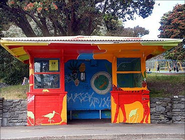 Bus stop in Wellington.