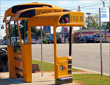 Bus stop made from an old school bus.