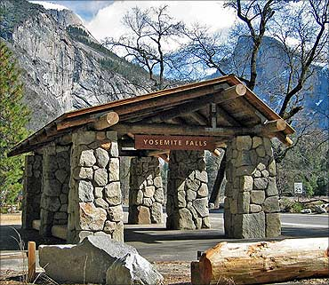 Bus stop at Yosemite Falls.