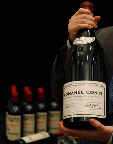 DRC Romanee-Conti is shown at news conference.