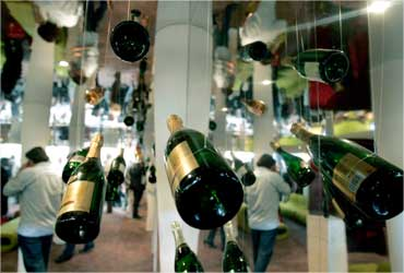 A view of wines on display at Vinexpo, the world's biggest wine fair, in Bordeaux.