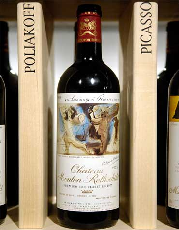 A bottle from Chateau Mouton Rothschild featuring a label by Pablo Picasso.