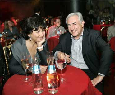 IMF Chairman Dominique Strauss-Khan and his wife Anne Sinclair.