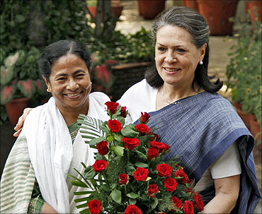 A file photograph of Mamata Banerjee with Congress chief Sonia Gandhi