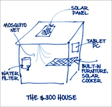 A simple napkin sketch, of the $300 house, made by Govindarajan and Christian Sarkar.
