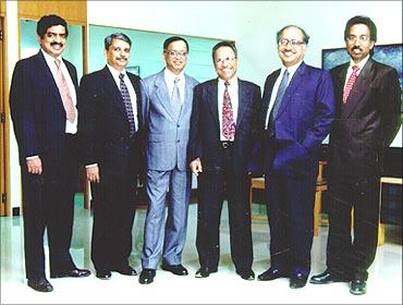 (L to R): Nandan Nilekani, S Gopalakrishnan, N R Narayana Murthy, K Dinesh, N S Raghavan, Shibulal.