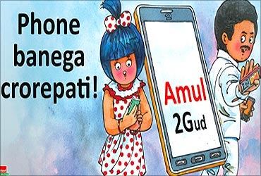 An Amul ad highlights the 2G scam.