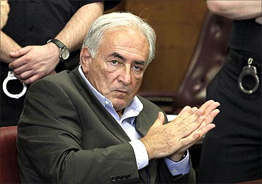 Former IMF chief Dominique Strauss-Kahn gestures during his bail hearing.