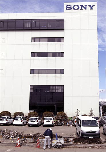 Sony's tsunami-crippled warehouse is seen near Sendai port.