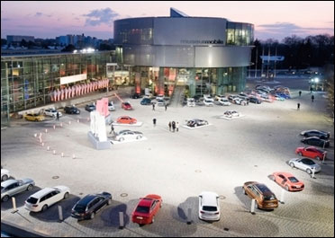 Audi cars outside the museum.