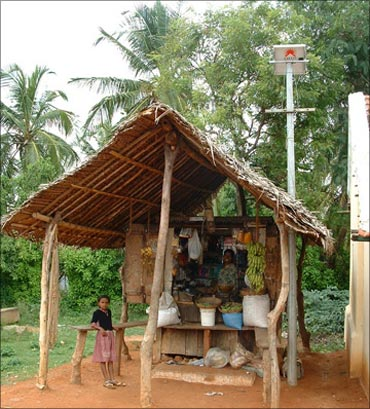 Selco solar light in a village.