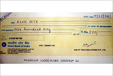 Gift cheque for winners.