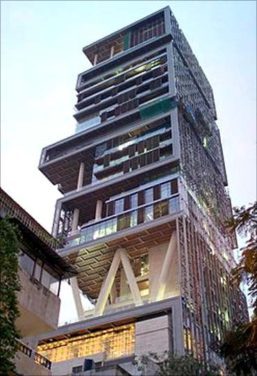 Mukesh Ambani's mansion, Antilla, in Mumbai.