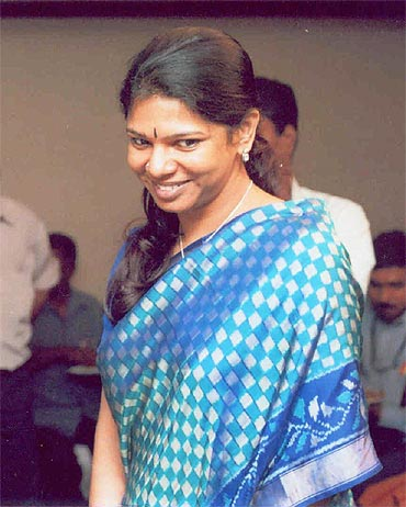 DMK heiress and Rajya Sabha MP Kanimozhi.