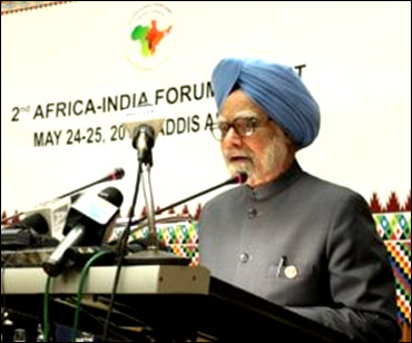 Prime Minister Manmohan Singh at the Africa India forum summit.