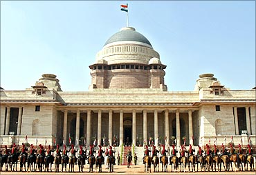 Indian President's Bodyguards (PBG), mounted on their horses.
