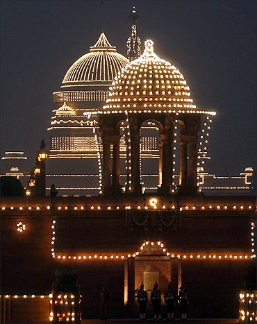 The Indian presidential palace is illuminated during the Beating the Retreat ceremony in New Delhi.
