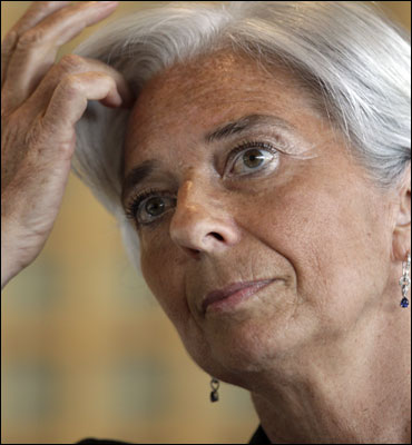 France's Finance Minister Christine Lagarde announces her candidacy to head the IMF.
