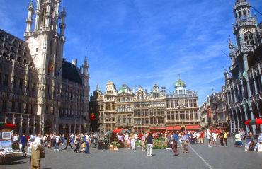 Belgium faces default prospect. A square in capital Brussels.