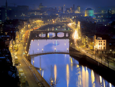 Ireland's economy is at the deep end. A night view of capital Dublin.
