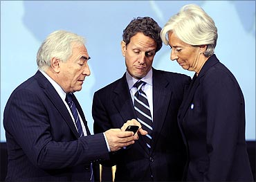 Dominique Strauss-Kahn (L-R), Timothy Geithner and Christine Lagarde.