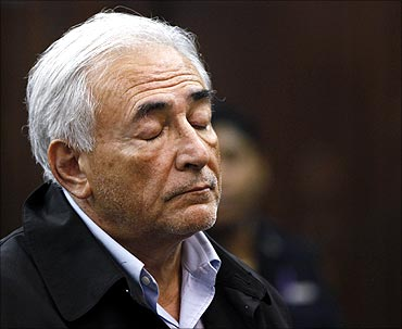 International Monetary Fund (IMF) chief Dominique Strauss-Kahn appears in Manhattan Criminal Court.