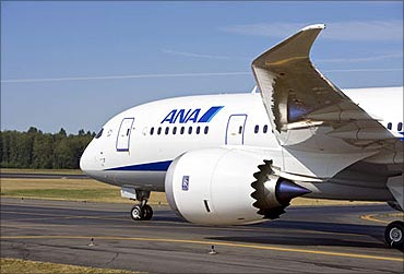 ANA's Boeing Dreamliner during a test.