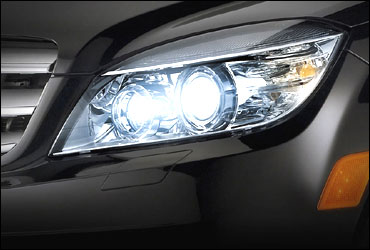 The front head lamps of Mercedes C Class.