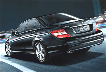 Rear view of Mercedes C Class.