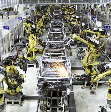 Hyundai i10 cars are assembled at a plant of Hyundai Motor India Ltd in Sriperumbudur.