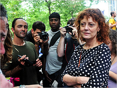 Susan Sarandon at the demonstration.