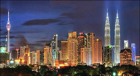 Kuala Lumpur skyline at night.