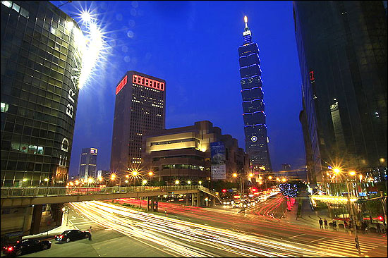 Taipei 101 at night.
